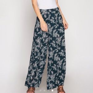 Patterned Culotte Wide Leg Pants
